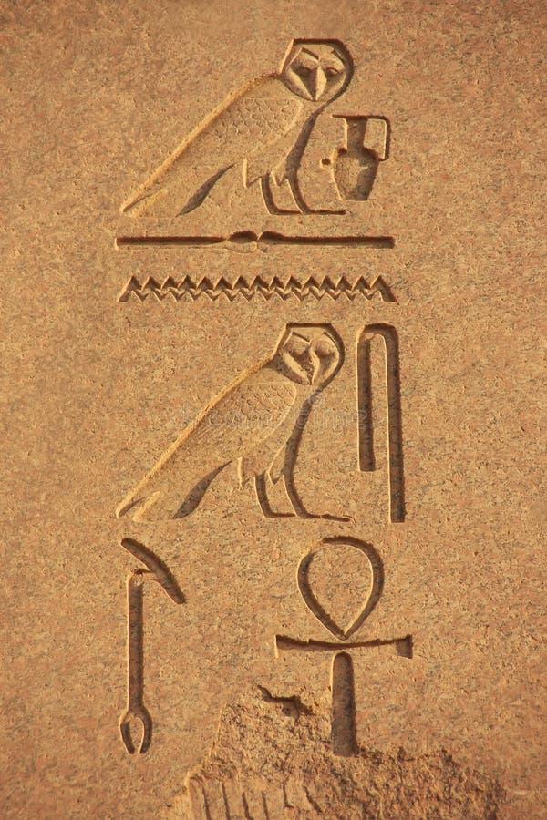 Antyczni hieroglyphics na ścianach Karnak świątynny kompleks, luks fotografia stock