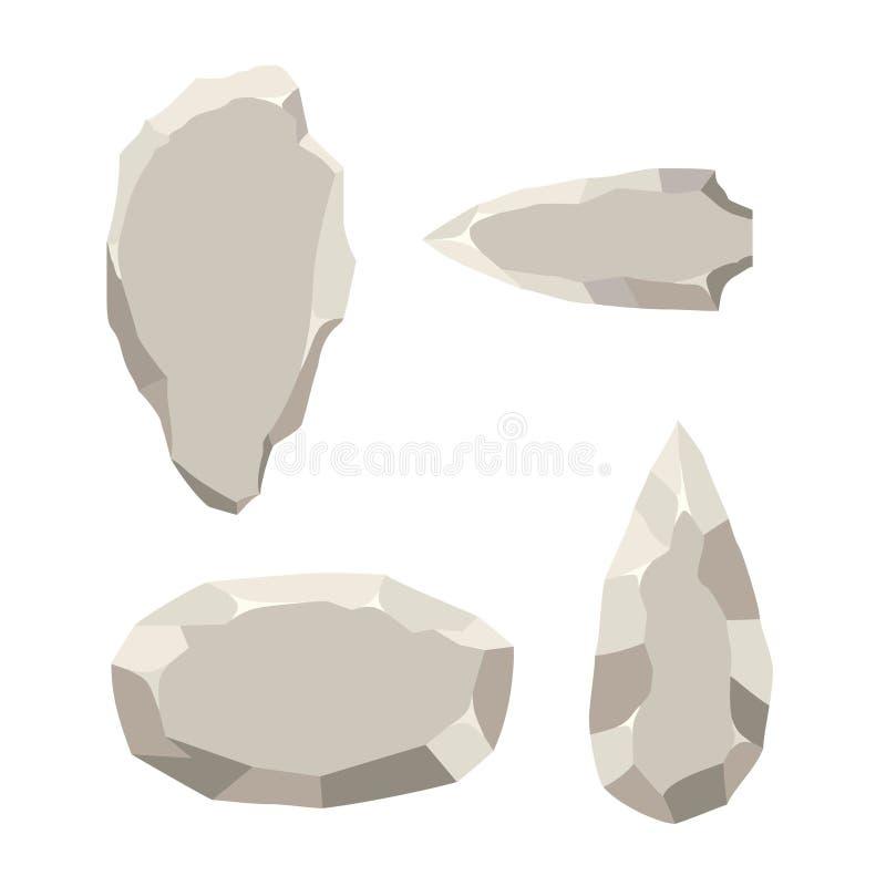 Antyczni kamienni narzędzia ustawiają odosobnionego na białym tle Pierwotny kultury ery kamienia łupanego narzędzie w mieszkanie  royalty ilustracja