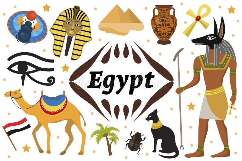 Antyczni magiczni Egipt ikon ustaleni przedmioty Inkasowe projektów elementów czarownicy stroskania ścigi, Pharaoh, ostrosłup, an royalty ilustracja