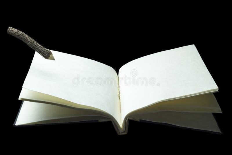 Antyczni notatniki rozwijają się i ołówek stawia mnie na stronie obraz royalty free