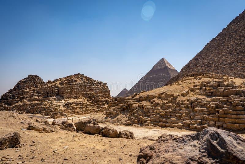 Antyczni ostrosłupy Giza zdjęcia royalty free