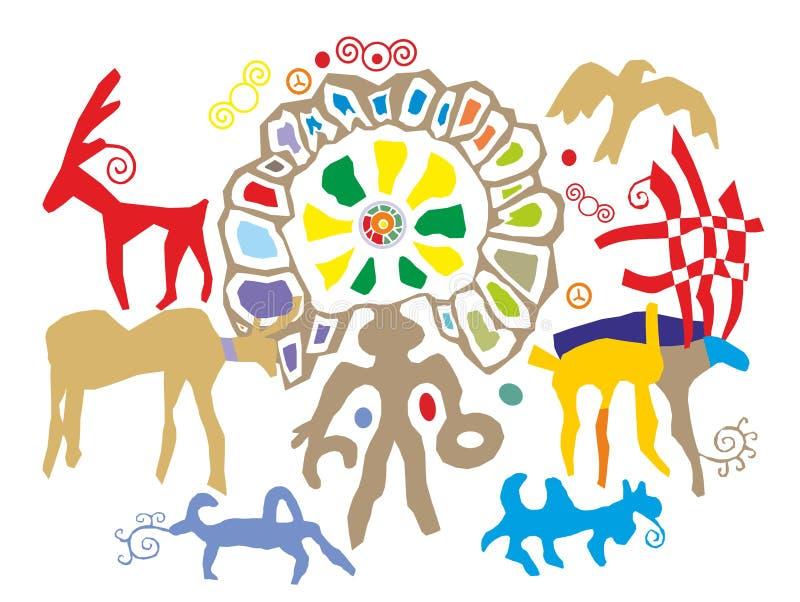 Antyczni petroglify dla używają w ilustracjach lub pocztówkach ilustracji