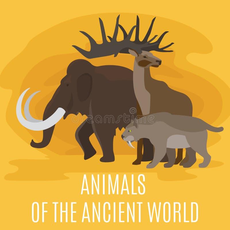 Antyczni prehistoryczni er kamienia łupanego zwierzęta ilustracji