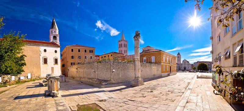 Antyczni punkty zwrotni Zadar widok zdjęcie stock