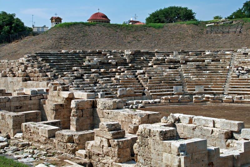 Antyczny amfiteatr w archeological terenie Larissa Grecja zdjęcie royalty free