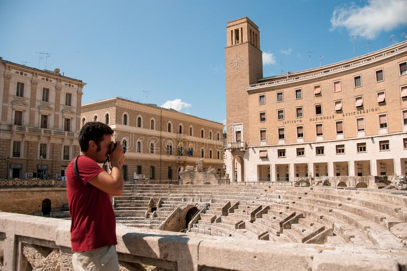 Antyczny amfiteatr w mieście Lecka, Włochy zdjęcia royalty free