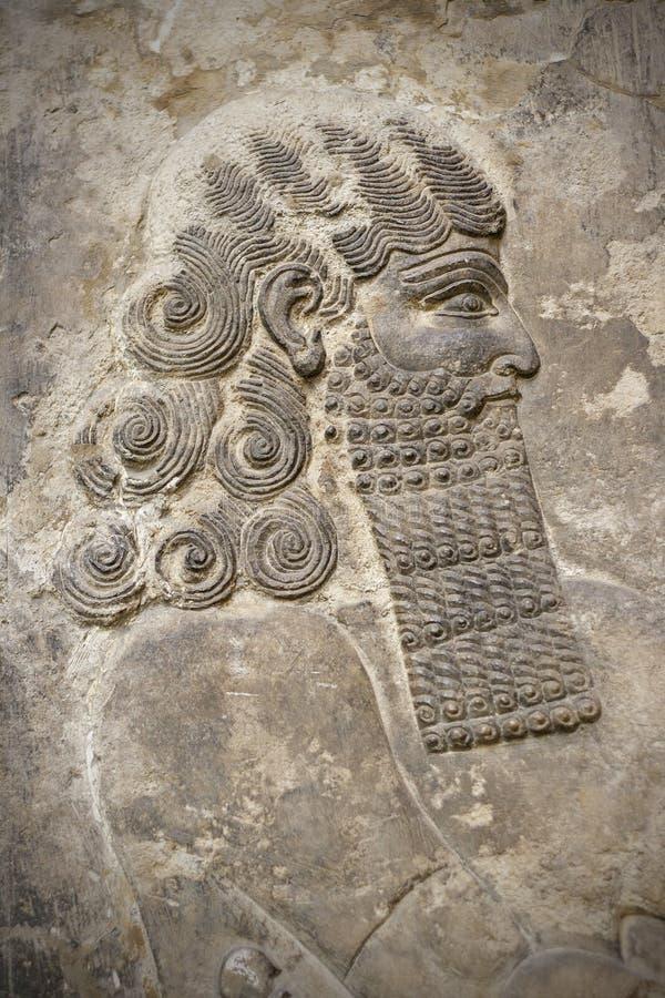 antyczny assyrian głowy wojownik zdjęcie stock