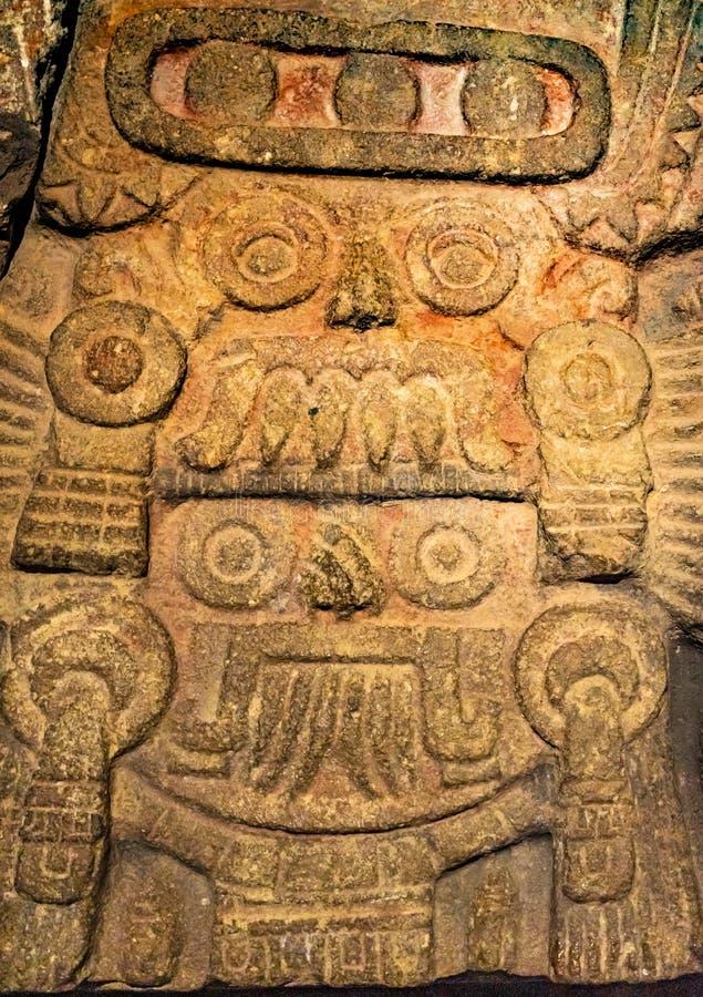 Antyczny azteka boga kamienia statuy Templo Mayor Meksyk Meksyk fotografia stock