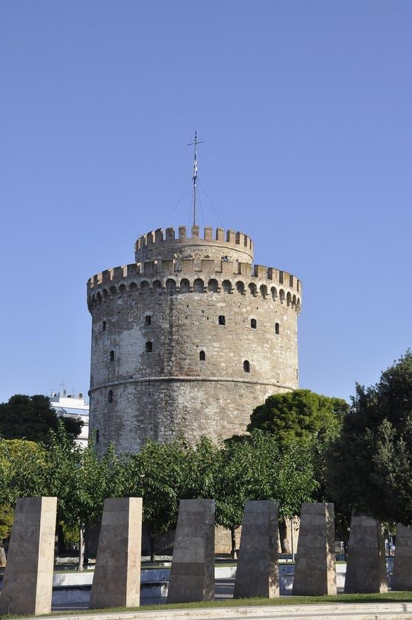 Antyczny bielu wierza Buduje od Saloniki w Grecja obraz royalty free