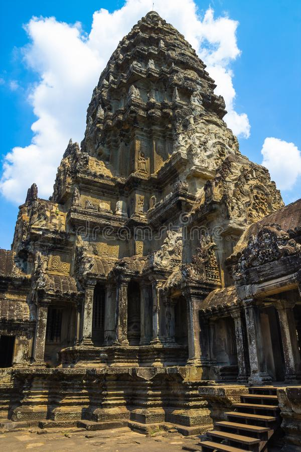 Antyczny budynek na terytorium Angkor Wat świątynia przy Angkor kompleksem, Siem Przeprowadza żniwa, Kambodża zdjęcie royalty free