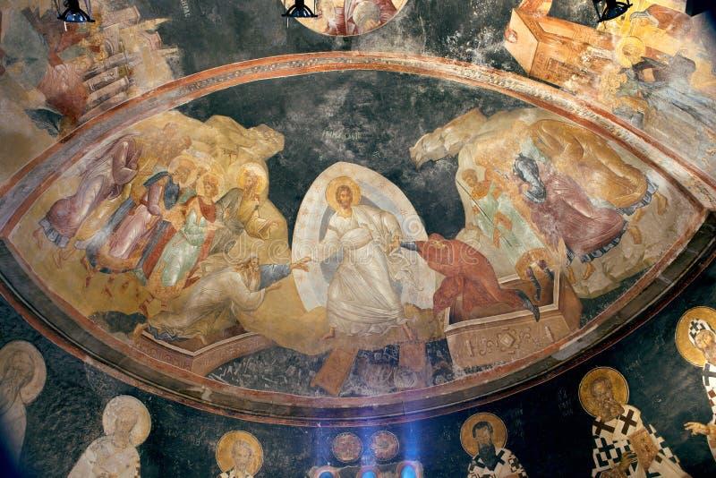 Antyczny byzantine fresk Jezus, Adam i wigilia w kościół sai, fotografia stock