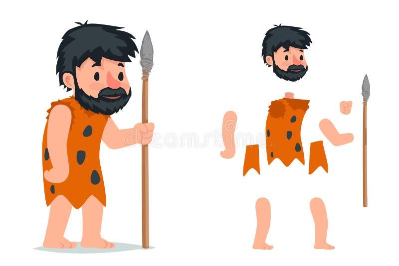Antyczny caveman z kamienny oszczepowy gemowy charakter ablegrującą akcji RPG animacji charakteru wektoru gotową ilustracją ilustracji