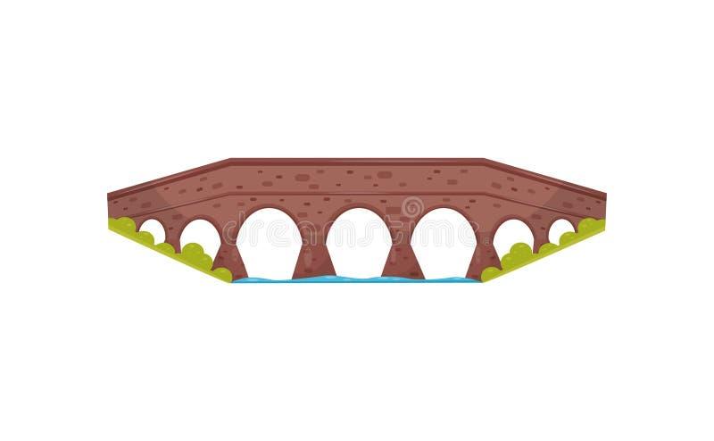 Antyczny cegła most Stary kamienny footbridge Krajobrazowy element dla miasto parka Przejście przez rzekę Płaska wektorowa ikona royalty ilustracja