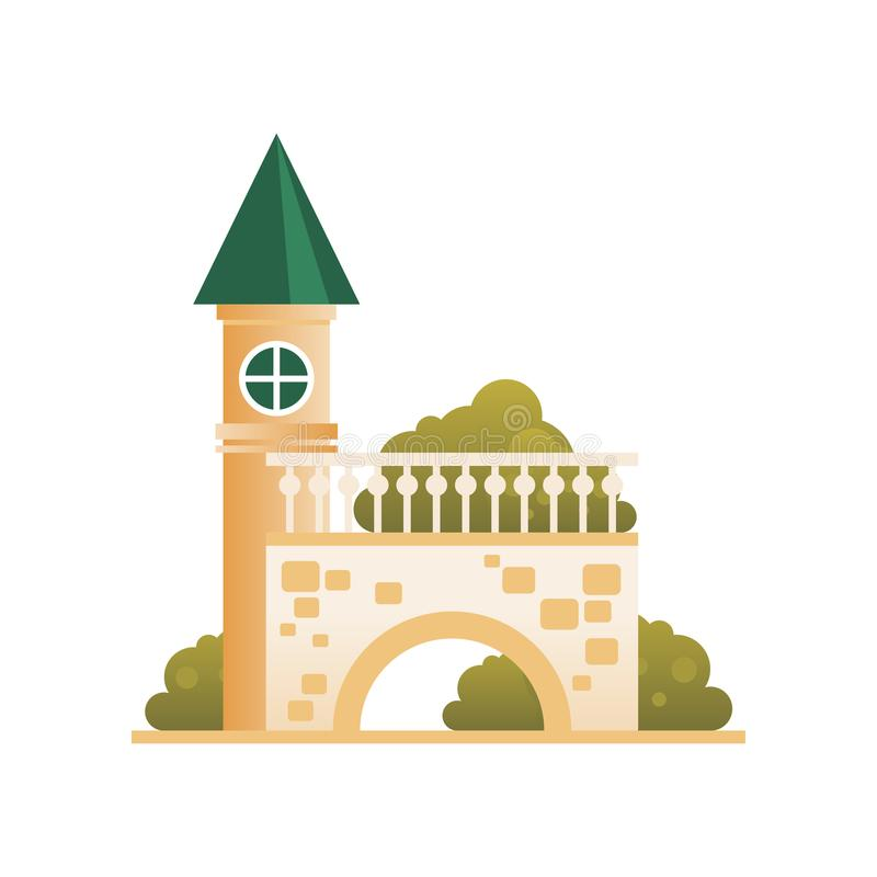 Antyczny ceglany forteca, cytadela z góruje, mosta i łuku wektorowa ilustracja na białym tle, royalty ilustracja