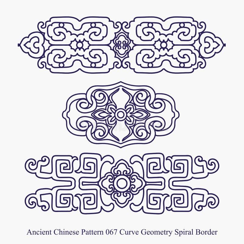 Antyczny chińczyka wzór Koszowa geometrii spirali granica ilustracji