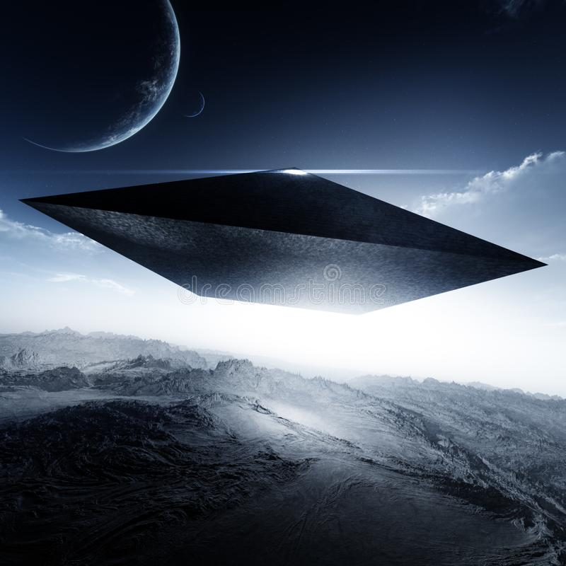 Antyczny cywilizacja ostrosłup Unosi się Nad Obcą planetą ilustracji