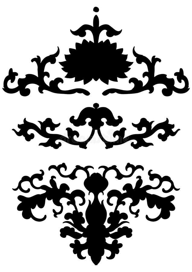 Antyczny czarny Chiński ornament z kwiatami Wektor odizolowywający set azjatykci dekoracja elementy ilustracja wektor