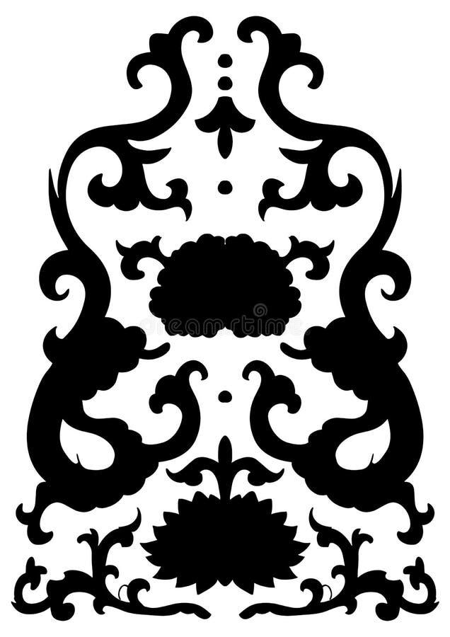 Antyczny czarny Chiński ornament z smokami i kwiatami royalty ilustracja