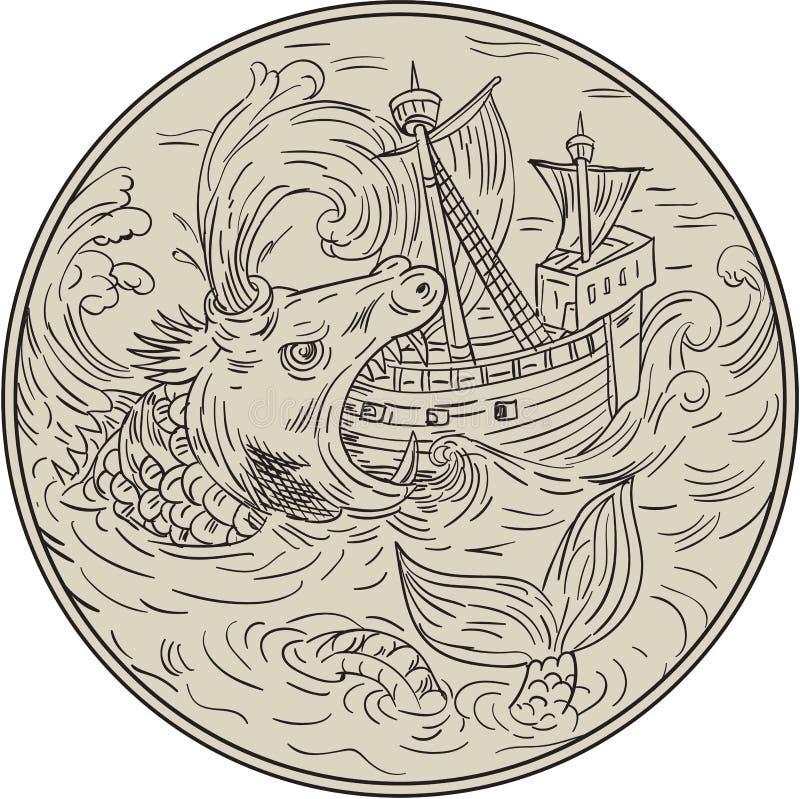 Antyczny Dennego potwora napadania żeglowania statku okręgu rysunek royalty ilustracja