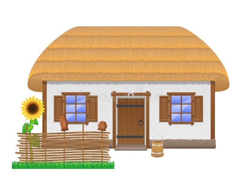 Antyczny dom wiejski z pokrywającą strzechą dachową wektorową ilustracją ilustracja wektor