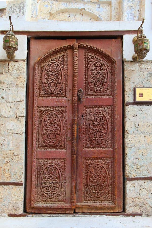Antyczny drzwi w starym miasteczku Jeddah Balad Tradycyjny Balad piękny mały miasteczko w Jedah regionie fotografia royalty free