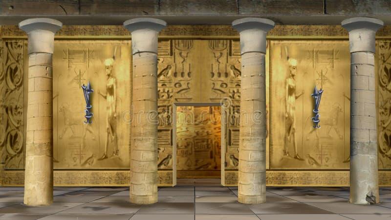 Antyczny Egipski Świątynny Salowy royalty ilustracja
