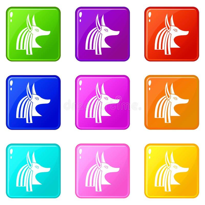 Antyczny egipski bóg Anubis ikon 9 set ilustracja wektor