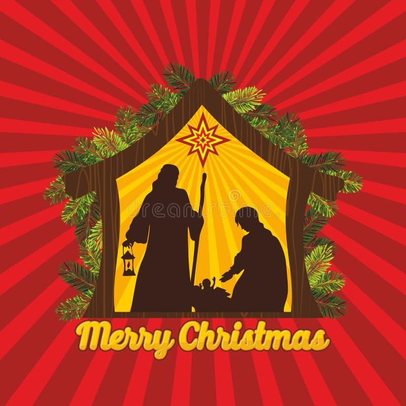 antyczny figurek narodzenia jezusa sceny set Boże Narodzenia bethlehem Mary, Joseph i mały Jezus, royalty ilustracja