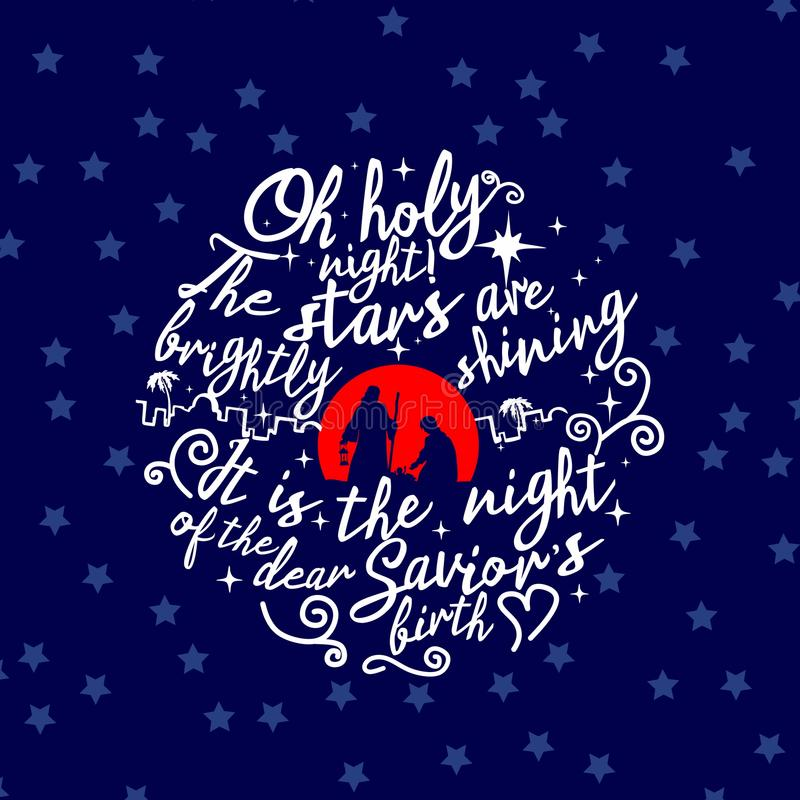 antyczny figurek narodzenia jezusa sceny set Boże Narodzenia literowanie O święta noc royalty ilustracja