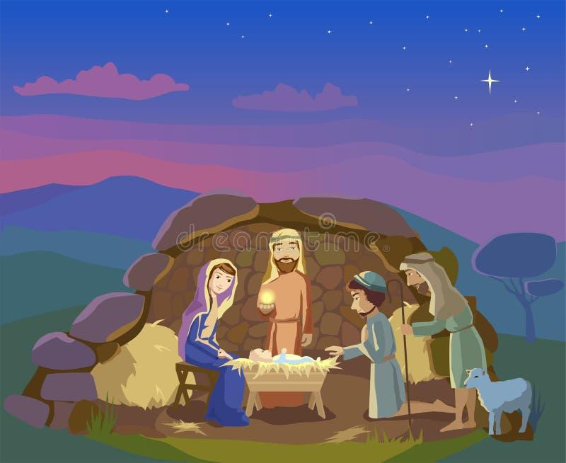 antyczny figurek narodzenia jezusa sceny set Bożenarodzeniowa ilustracja ilustracja wektor