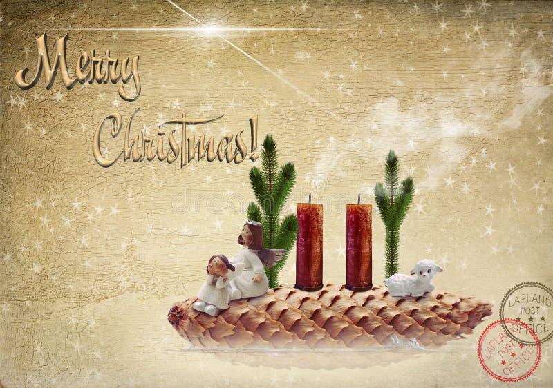 antyczny figurek narodzenia jezusa sceny set Dwa anioła i baranek na jedlinowym rożku ilustracji