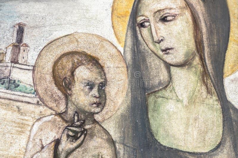 Antyczny fresk Mary z dzieckiem Jesus zdjęcia stock