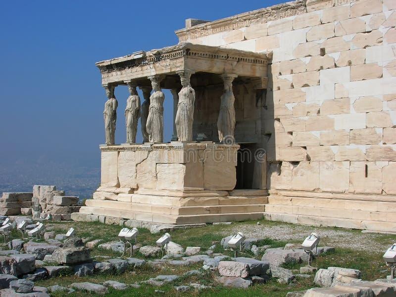 Antyczny Ganeczek Caryatides w Akropolu zdjęcie stock
