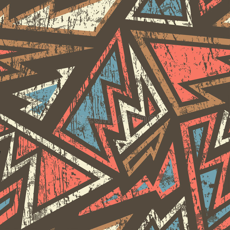 Antyczny geometryczny bezszwowy wzór z drewnianym skutkiem ilustracji