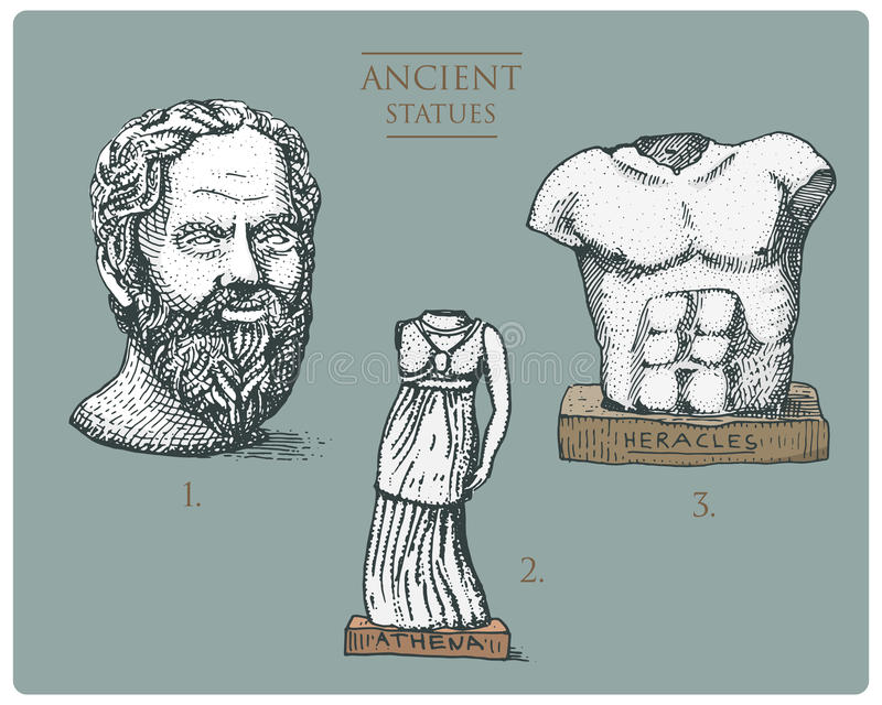 Antyczny Grecja, antykwarskie rzeźby, Athena i Hercules, socratus, heracles rocznik, grawerująca ręka rysująca w nakreśleniu lub ilustracji