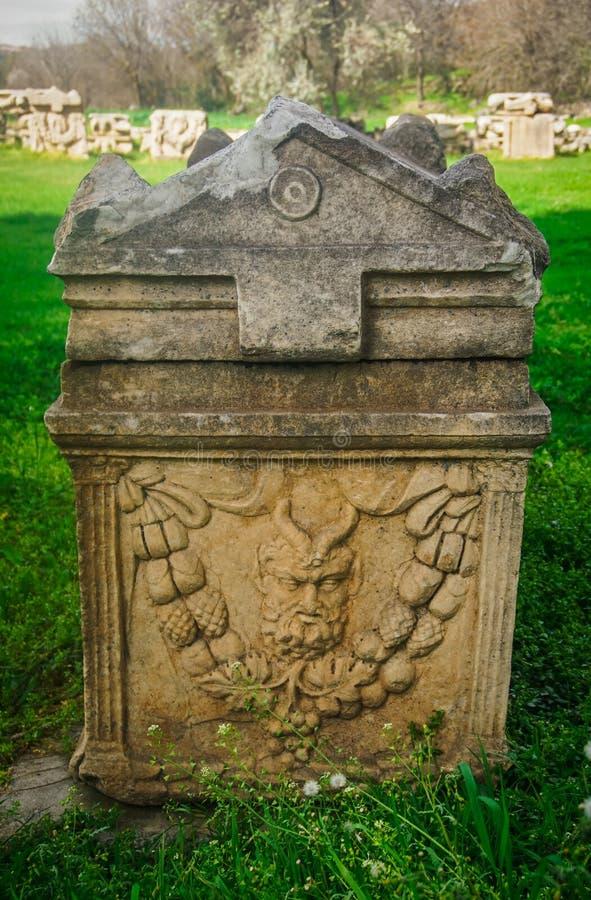 Antyczny grobowiec z ulgą Aphrodisias Afrodisias Antyczny miasto w Caria, Karacasu, Aydin, Turcja obraz royalty free