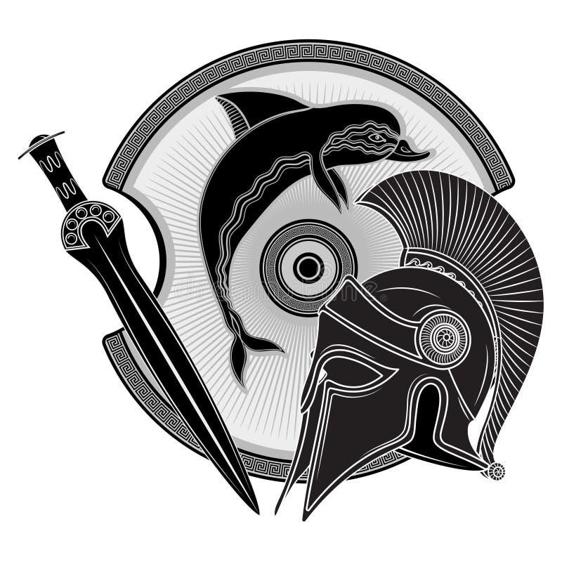 Antyczny Helleński hełm, starożytny grek osłona wizerunek delfin i grecki ornamentu meander, ilustracji