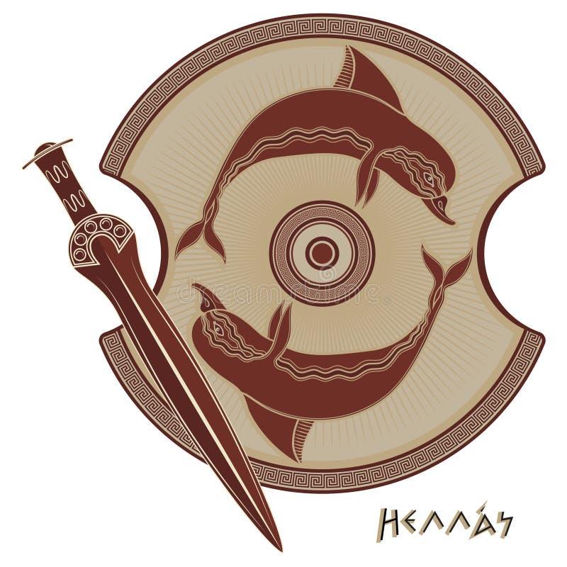 Antyczny Helleński kordzik, starożytny grek osłona wizerunek delfin i grecki ornamentu meander, ilustracji