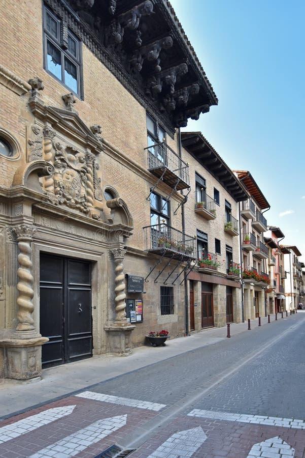 Antyczny Hiszpański grodzki Zangoza w Navarra zdjęcia royalty free
