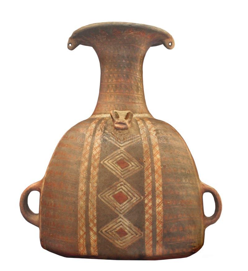 Antyczny inka ceramiczny słój odizolowywający. zdjęcie stock