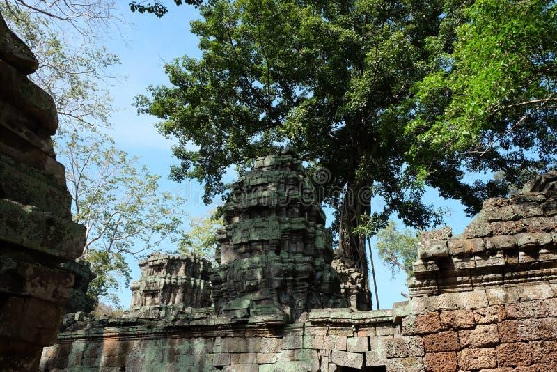Antyczny kamienia wierza zaniechany świątynny kompleks w Azja Południowo-Wschodnia Architektoniczny dziedzictwo Khmer imperium obraz royalty free