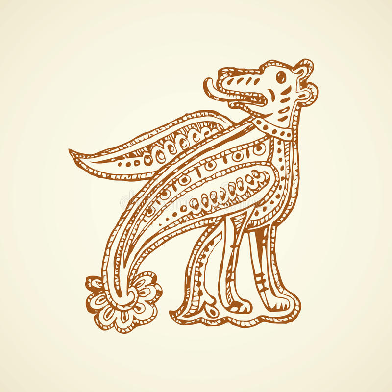 Antyczny kapitałowy list rysuje tła trawy kwiecistego wektora royalty ilustracja