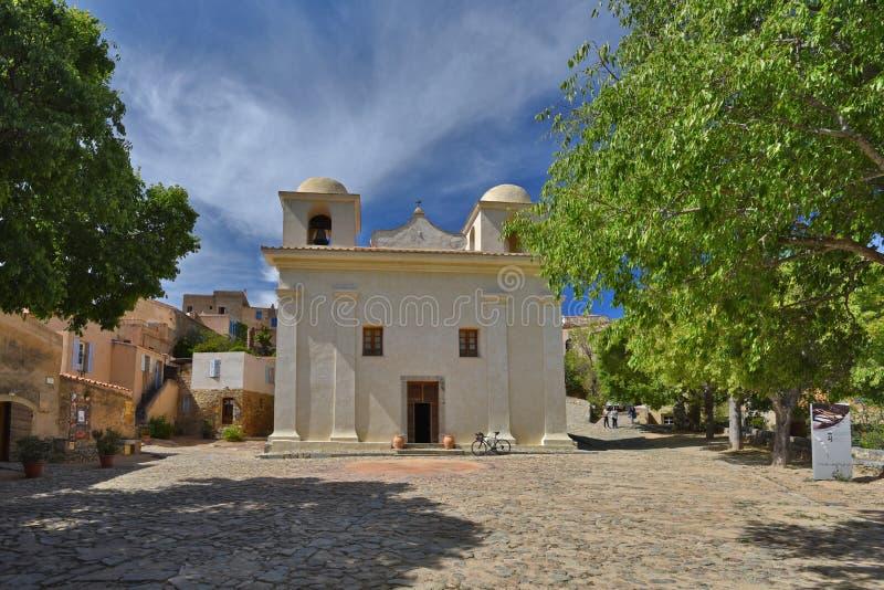 Antyczny kościół w Korsykańskiej wiosce Pigna obraz royalty free