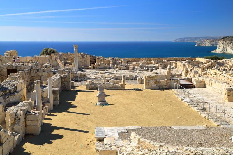 ANTYCZNY KOURION, CYPR: Archeological miejsce blisko Pafos obraz stock