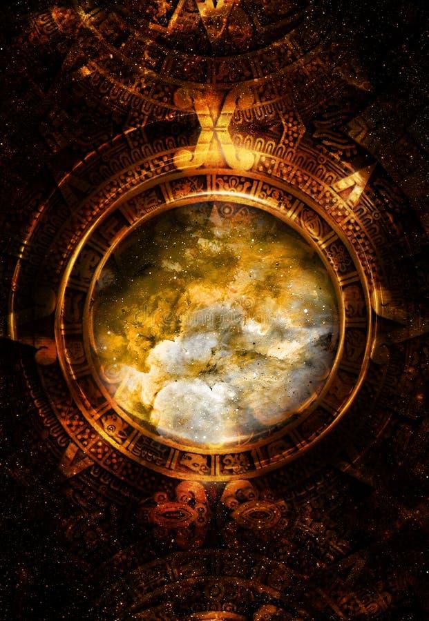 Antyczny Majski kalendarz, Pozaziemska przestrzeń i gwiazdy, ilustracja wektor