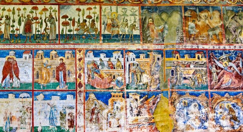 Antyczny malowidło ścienne fresk w Rumunia fotografia royalty free