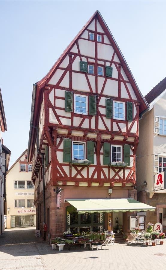 Antyczny miasteczko Mosbach w Południowy Niemcy zdjęcie stock