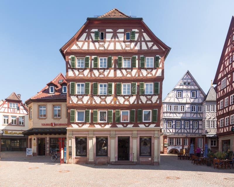 Antyczny miasteczko Mosbach w Południowy Niemcy fotografia stock