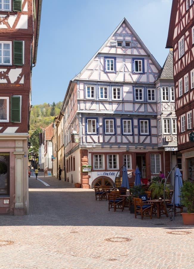 Antyczny miasteczko Mosbach w Południowy Niemcy zdjęcie royalty free