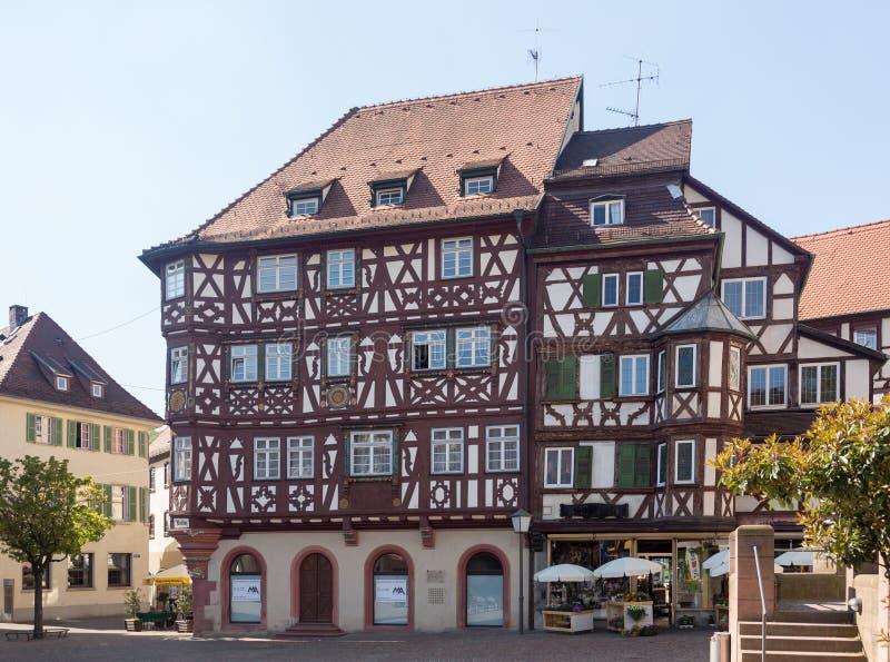 Antyczny miasteczko Mosbach w Południowy Niemcy zdjęcia royalty free